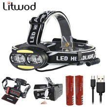 Litwod z90 Headlight 30000 Lumen headlamp 4* T6 +2*COB+2*Red LED Head Lamp Flashlight Torch Lanterna head light for Fishing(China)