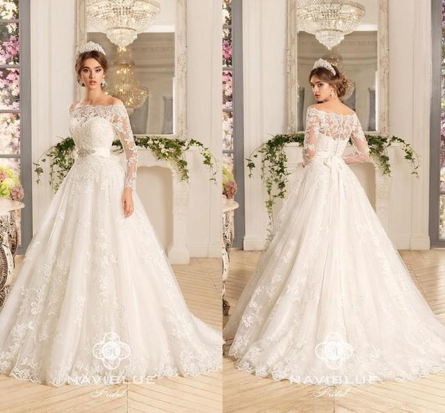 f46be57ea103 2017 Vestio De Novia Off Shoulders Long Sleeve Lace Wedding Dresses  Appliques Button Back Brazil Beaded Ribbon Bridal Gowns W77