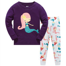 Купить с кэшбэком 3-8 years kids cotton christmas pajamas girl family long sleeve pijama sets children 2pcs sleep set