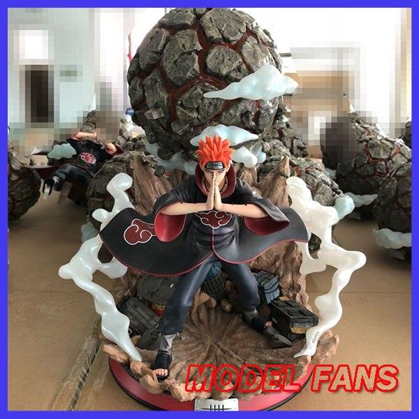 Модель фанатов в наличии Наруто 37 см Высота Акацуки боль Chibaku Tensei gk статуя из смолы содержит светодио дный светодиодный свет фигурка игрушка
