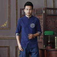 Summer New Navy Blue Men S Cotton Linen Shirt Tops Vintage Chinese Kung Fu Short Sleeve