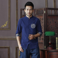Summer New Navy Blue Men S Cotton Linen Shirt Tops Vintage Chinese Kung Fu Short Sleeve