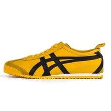 8a97832ac4 2018 MÉXICO Onitsuka Tiger sapatos masculinos amarelo brilhante 66 sola De  Borracha Dura-Usando tênis badminton shoesDL408-0490