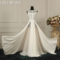 A Line Split Wedding Dresses Dot Tulle Unique Lace Chiffon Factory Real Photo