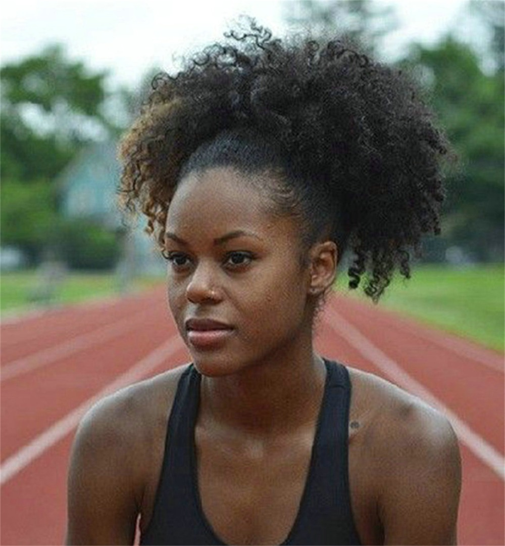 140g Natural Brown Sports Afro Puff Clip In Kinky Curly Human Hair