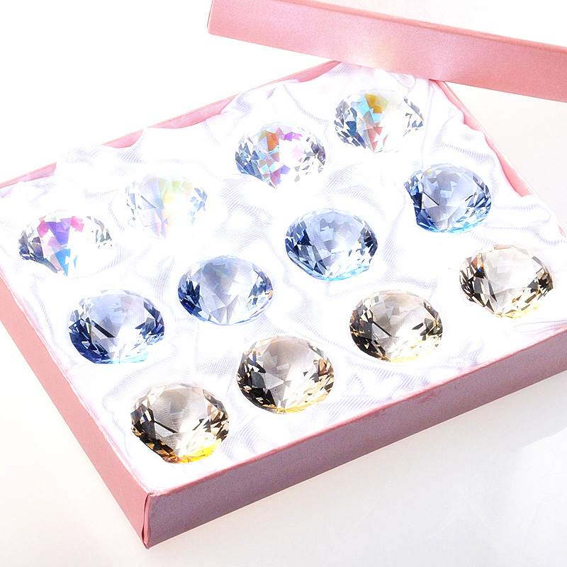 12pcs/box, 1.18 Top Quality Clear Crystal Diamond Paperweight For Pary &Wedding Decoration, Valentines Day gifts Free Shipping