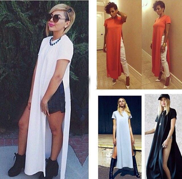 c679de3133d Ladies Sexy Casual Side High Slits Tee Long Top Maxi Dress T-shirt Tops  Blouse