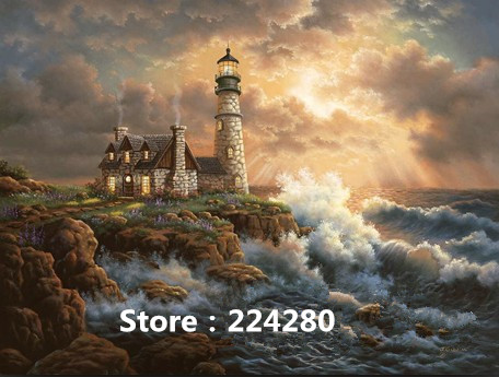 Needlework,for Embroidery,DIY DMC 14CT Unprinted Cross Stitch Kits Seaside Lighthouse Scenery Cross-Stitching Home Decor Crafts