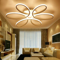 New Creative Led Chandeliers Lustres For Living Room Kitchen Circle Flower Acrylic Ceiling Chandelier Lamp Plafon Ceiling Deco