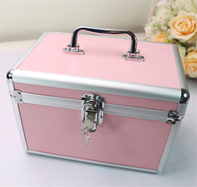 Professional Aluminium alloy Make up Box Large Pink Makeup Case Beauty Case Cosmetic Bag Multi Tiers Lockable Jewelry цена и фото