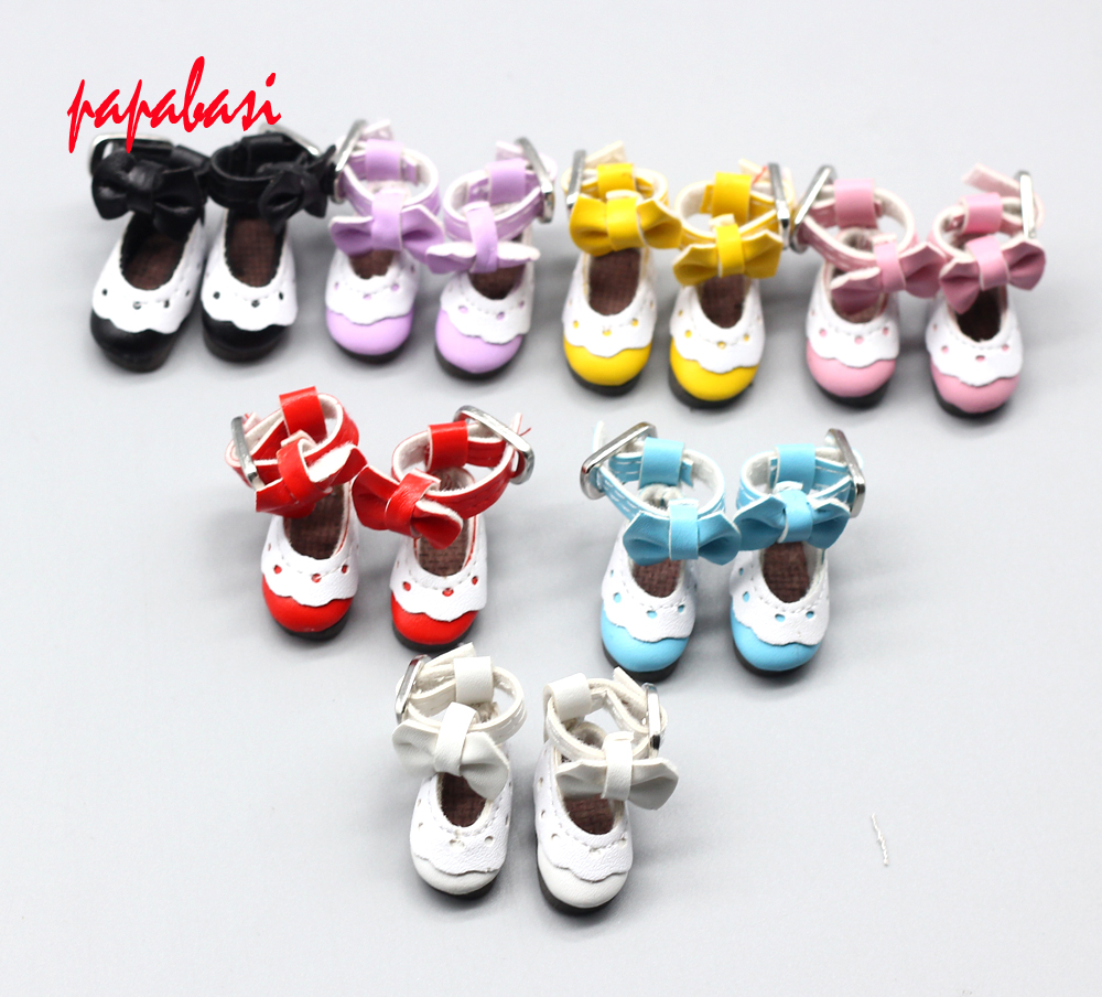 One Pair 2.8CM PU Leather with Bow Princerss Shoes for BJD Blythe Dolls, Fashion Mini Doll Shoes Doll Accessories beioufeng 3 8cm fashion doll shoes for blythe doll toy mini gym shoes sneakers for dolls bjd doll footwear sports shoes 6 pair