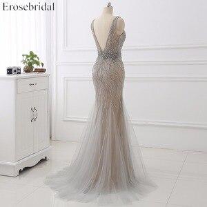 Image 4 - Erosebridal Meerjungfrau Abendkleid Lange 2020 Licht Grau Perlen Luxus Lange Formale Kleid mit Zug Open Back Lange Abendkleid