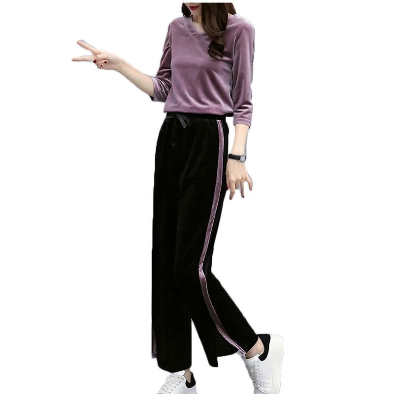 Herbst Neue Frauen 2 Stücke Lässige V-ausschnitt Zip Sweatshirt Lange Hosen Gestreiften Sportwear Harajuku Anzug Mode Anzüge & Sets