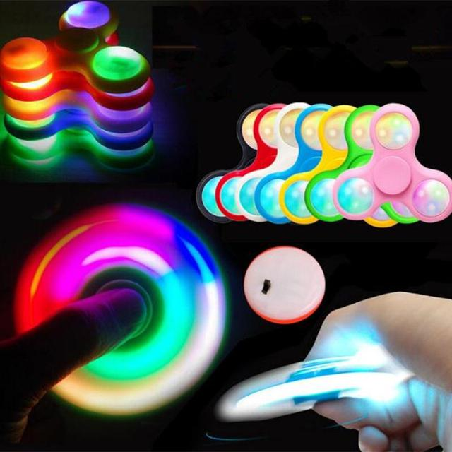 New Light Fidget Spinner Led Stress Hand Spinners Glow In The Dark Figet Spiner Cube EDC