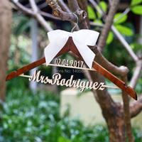 Wedding Hanger Personalized With Date And Name Rustic Wedding Dress Hanger Custom Wood Bridal Last Name