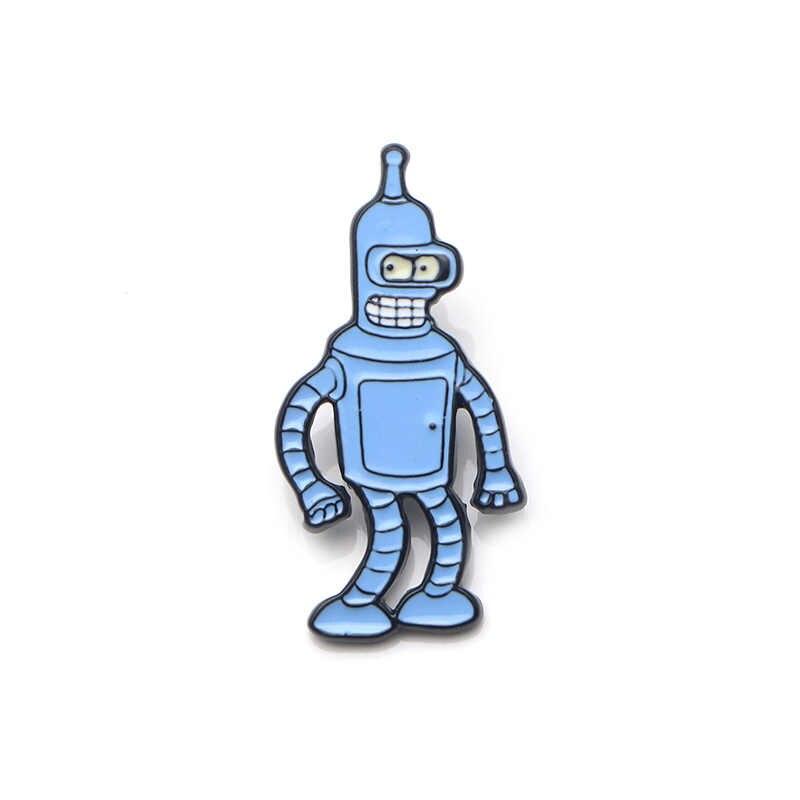 V114 Rick dan Morty Lucu Futurama Logam Enamel Pin & Bros Kerah Pin Tas Ransel Lencana Koleksi Hadiah 1 Pcs