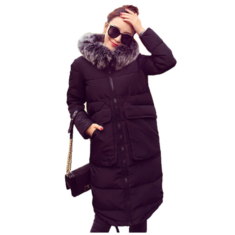 AILOOGE 2017 Free Shipping Winter Coat Womens Ultra Long Down Jacket Women White Duck Down Parka with Fur Hooded