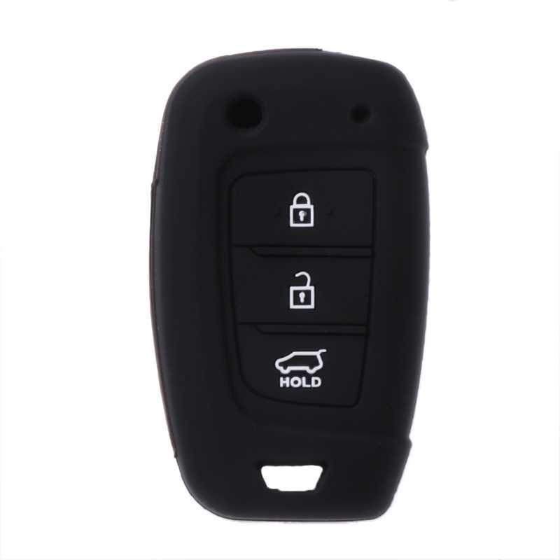 3 düğmeler silikon araba anahtarlık kapak kılıf için Hyundai Elantra Solaris 2017 Santa