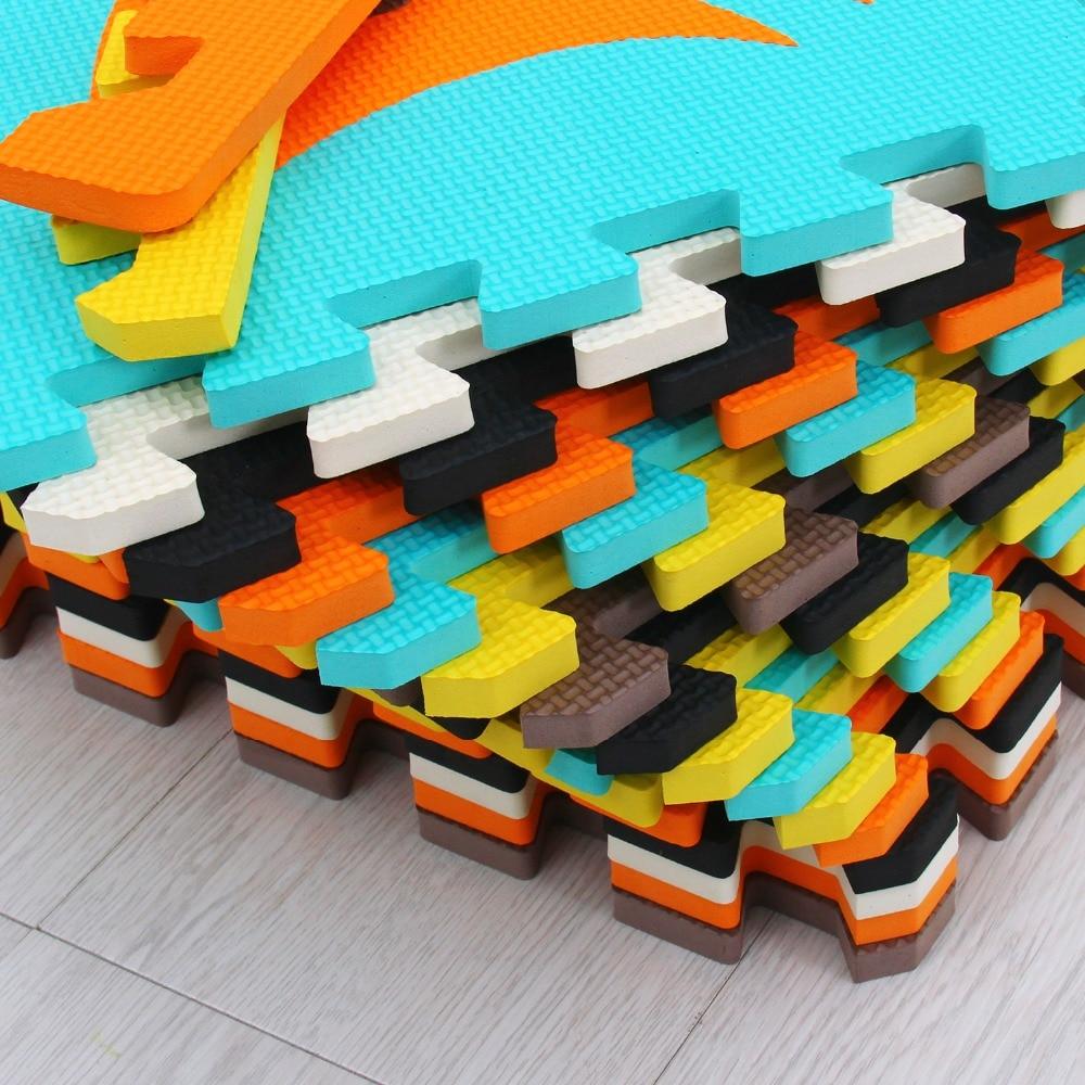 Meiqicool tapis de Puzzle de jeu en mousse EVA bébé 16 pièces, tapis et tapis de sol à emboîtement noir et blanc, tapis 16 carreaux pour kis. Bord libre. - 5