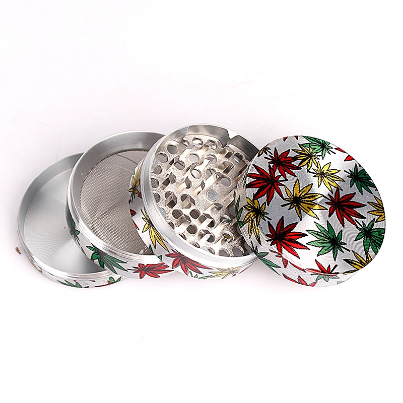 63mm 4levels Grinder Beautiful Herb Grinder Zinc Alloy Leaf Picture Tobacco Smoke Crusher 2 Colors Smoking Accessories in Tobacco Pipes Accessories from Home Garden
