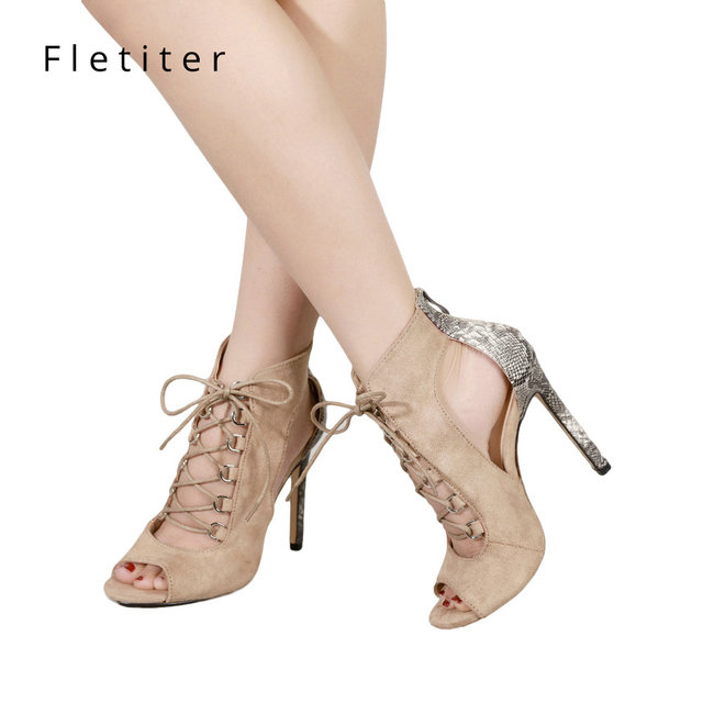 Fletiter 2018 Newest Women Shoes Summer Sandals High Heels Cross Strap Cut  out Shoes Women Sexy Party Sandals for women 7ddddf917e1c