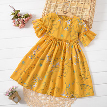 Princess Girl Child Dress 2019 Summer Princess Flower Korean Teen Baby Dress for Girls Chiffon 3 4 5 6 7 8 9 10 11 12 13 14 T цена