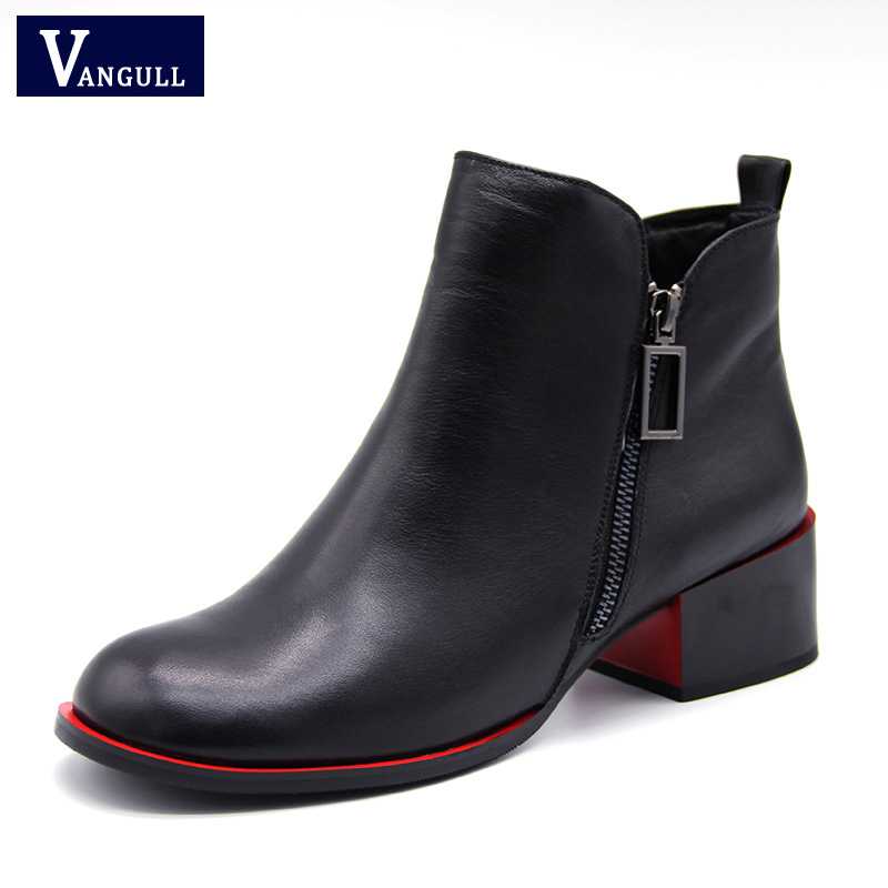 Vangull Winter Boots Plush Lined Boots Women Genuine Leather Buckle Ankle Boots Square Heel Oxford Boots