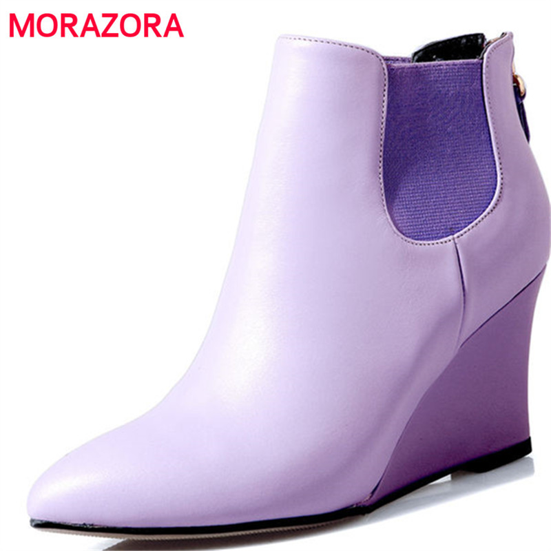 MORAZORA 2018 new autumn winter genuine leather boots fashion pointed toe wedges ankle boots sexy high heel women boots car styling halogen fog lights fog lamps for nissan qashqai 2 2007 2012 12v 1set