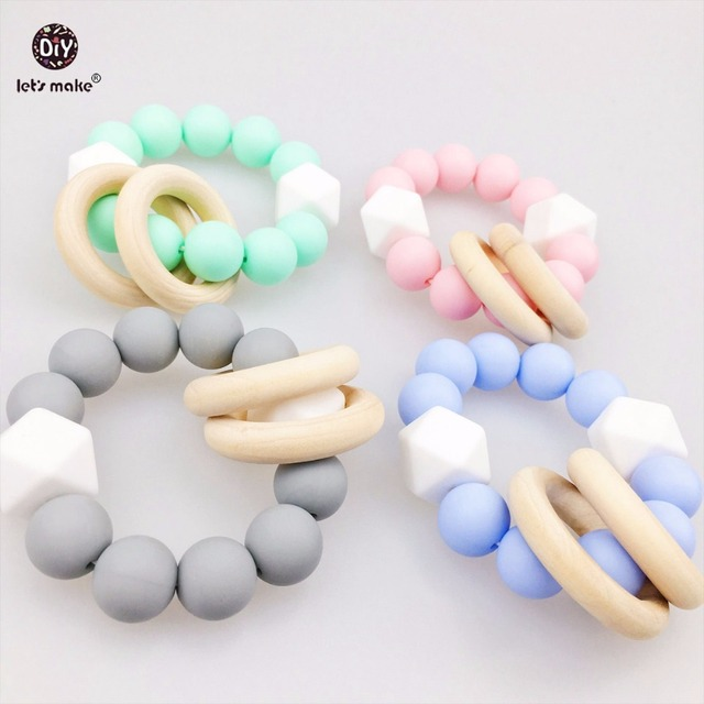 Let S Make Baby Accessories 4pcs Silicone Teething Bracelet Chew Beads Hex Toys Organic Rattle