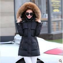 Женщины негабаритных меховым воротником Тонкий новый зимний длинный участок толщиной вниз куртка женская мода теплый Парки холода AE889