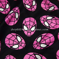 140X100cm Width Black Background Hot Pink Spiderman Face Cotton Stain Fabric for Baby Boy Sleepwear Sewing Patchwork DIY-AFCK378