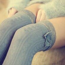 Повседневные милые женские теплые чулки выше колена с кружевным бантом, однотонные вязаные чулки, 3 стиля, наряд на весну и осень