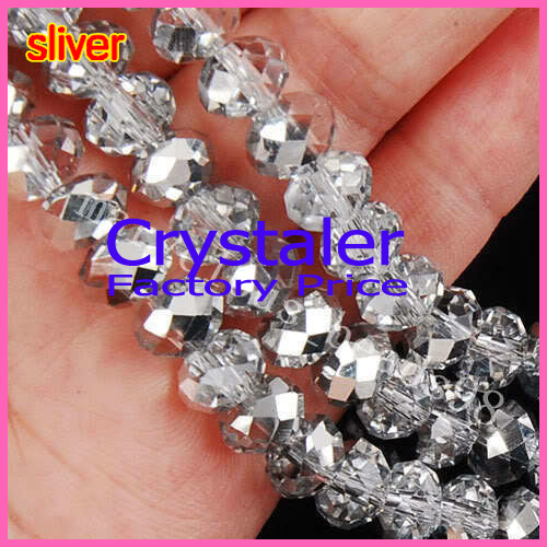 5040 AAA Top Half Clear sliver Color Loose Crystal Glass Rondelle pärlor.2mm 3mm 4mm, 6mm, 8mm 10mm, 12mm Gratis frakt!