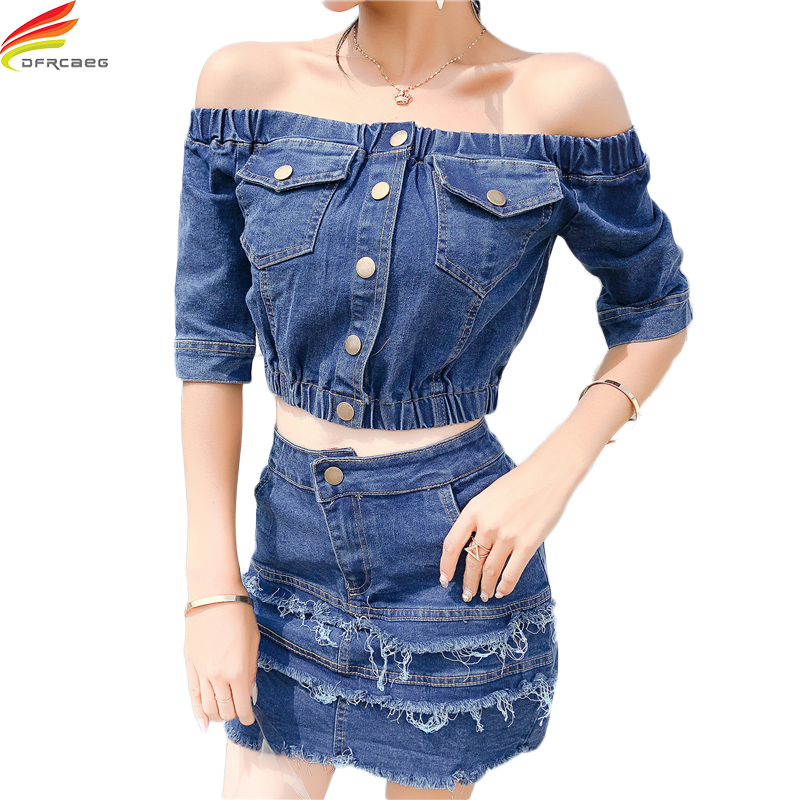 Hot Sale Crop Tops + Skirts 2 Piece Set Women Fashion Short Sleeve Denim Tops And Denim Skirt Set Euro Style Sexy Summer Outfits