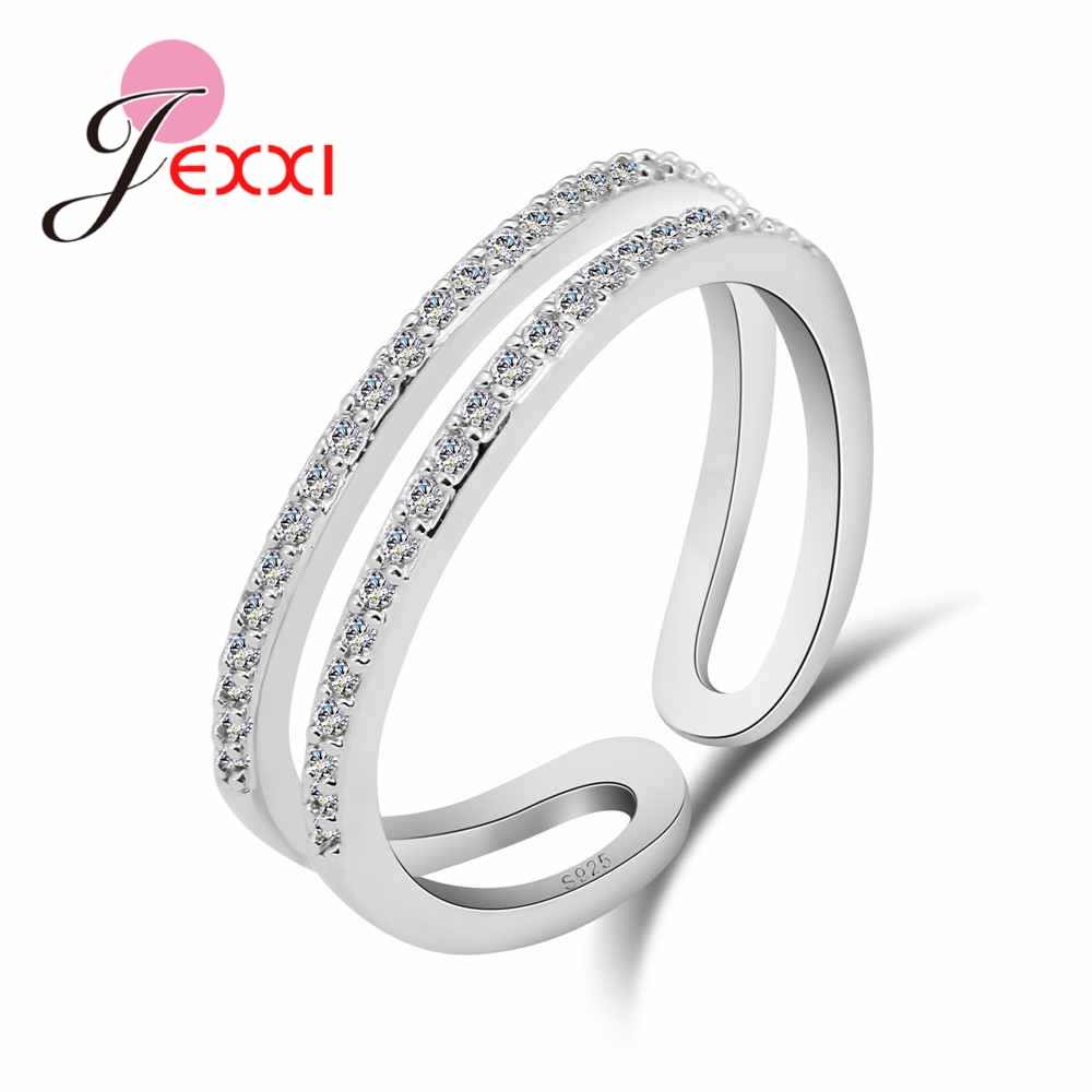 2019 Best Selling 925 Sterling Silver Adjustable Jewelry Cubic Zirconia ring Double line Open Ring Wedding Bands Rings
