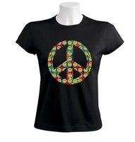 Satılık Yeni Moda Kısa Barış Burcu Gildan-Gülen Yüzleri 60 S Hippiler Gençlik Hareketi Sixties Abd Kadın Zomer o-boyun T Shirt