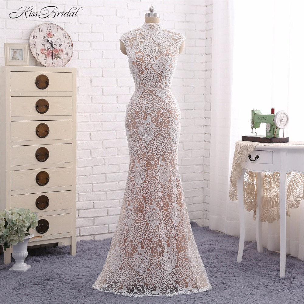 Mermaid Lace Wedding Dresses with Overskirt Vestido de Noiva 2017 High Neck Short Cap Sleeve Bridal Gown with Key Hole Back