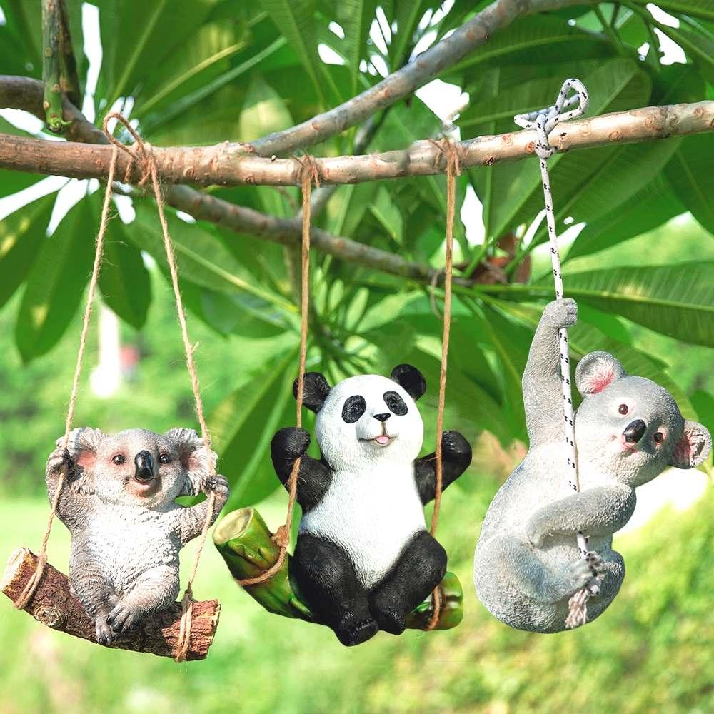 The koala Panda Statue Garden ornaments animal sculpture crafts ...