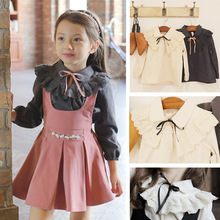 South Korea's Autumn Girls Long Sleeved T-Shirt Bow Child Princess Blouses