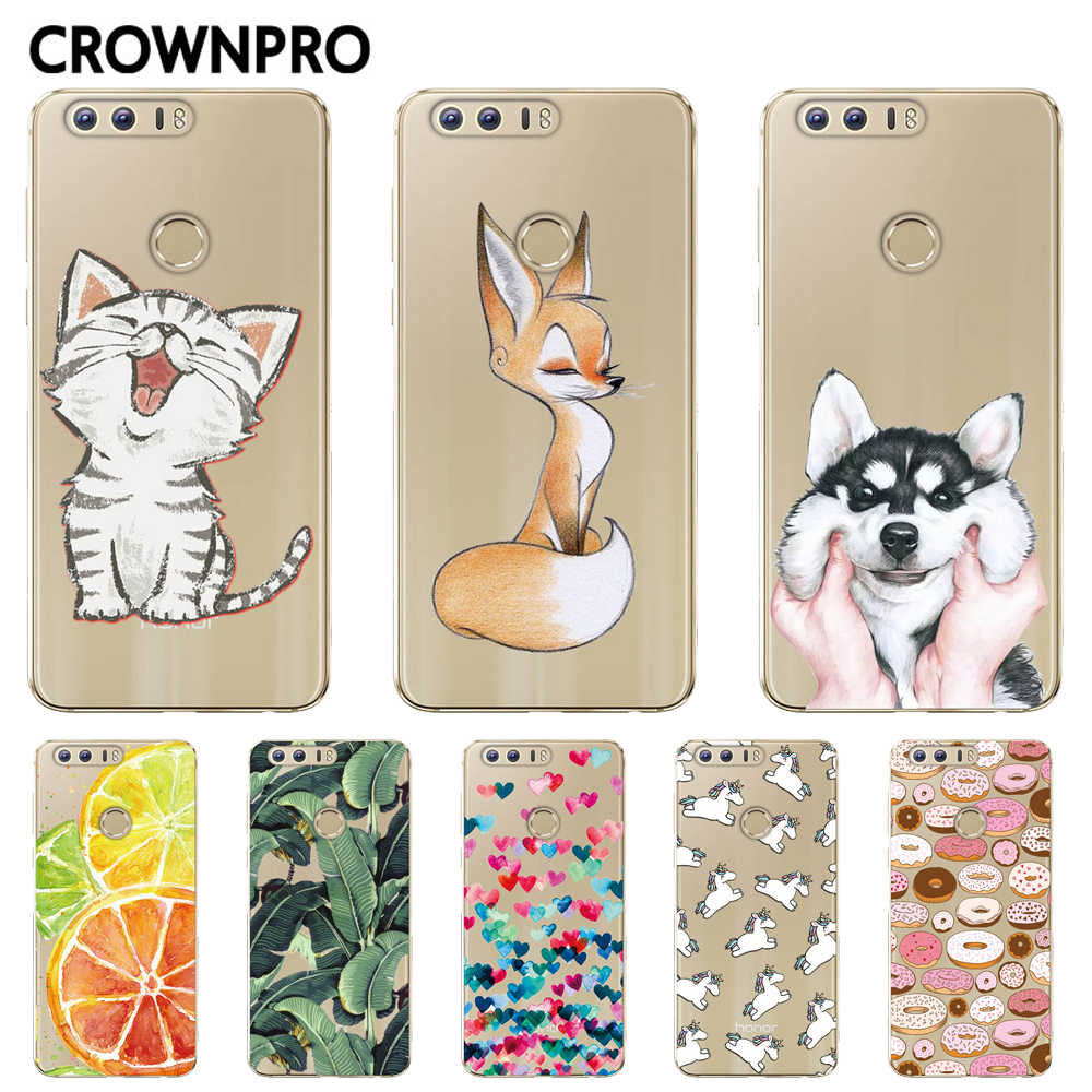 "CROWNPRO Silicone Case Huawei Honor 8 Patterns Case Cover 5.2"" Huawei Honor 8 Soft TPU Case Back For Huawei Honor8 Phone"