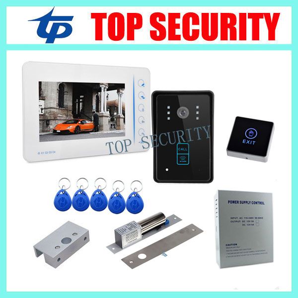 7 TFT color screen video door phone intercom entry system monitor+RFID access camera+power supply+lock+bracket+exit button 10 inch tft color video door phone intercom entry system black color video door bell monitor without outdoor camera high quality
