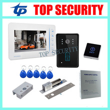 7″ TFT color screen video door phone intercom entry system monitor+RFID access camera+power supply+lock+bracket+exit button