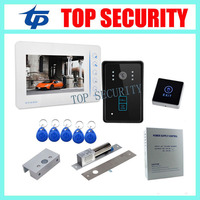 7 TFT Color Screen Video Door Phone Intercom Entry System Monitor RFID Access Camera Power