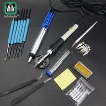 Adjustable Temperature Electric Soldering Iron 220V 60W Welding Solder Rework Station Heat Pencil 5pcs Tips Repair Tool 2016 new high power 75w industrial grade lead free station 936b electric iron welding soldering rework repair tool