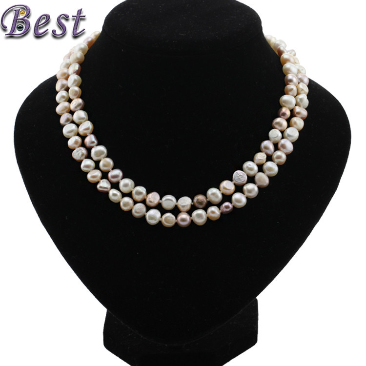 SNH 8mm baroque AA 90cm real genuine freshwater pearl necklace for woman mixed color natural cultured