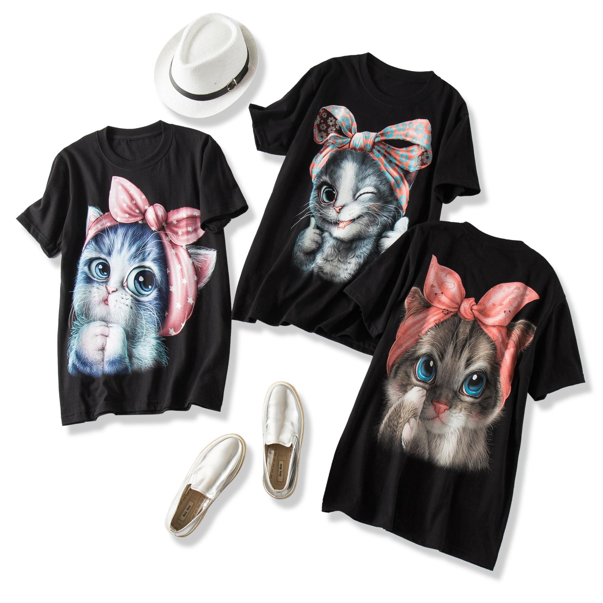 Femmes de haute qualité T-shirts Kawaii 3D Bow Cat imprimé hauts noirs surdimensionné lâche coton T-shirts o-cou à manches courtes runaway t-shirt