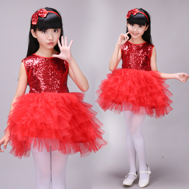 Hot Fashion New Baby Girls Tulle Red Party Dress Sequins Ballet Dance Wear Short Cake Tutu Dress