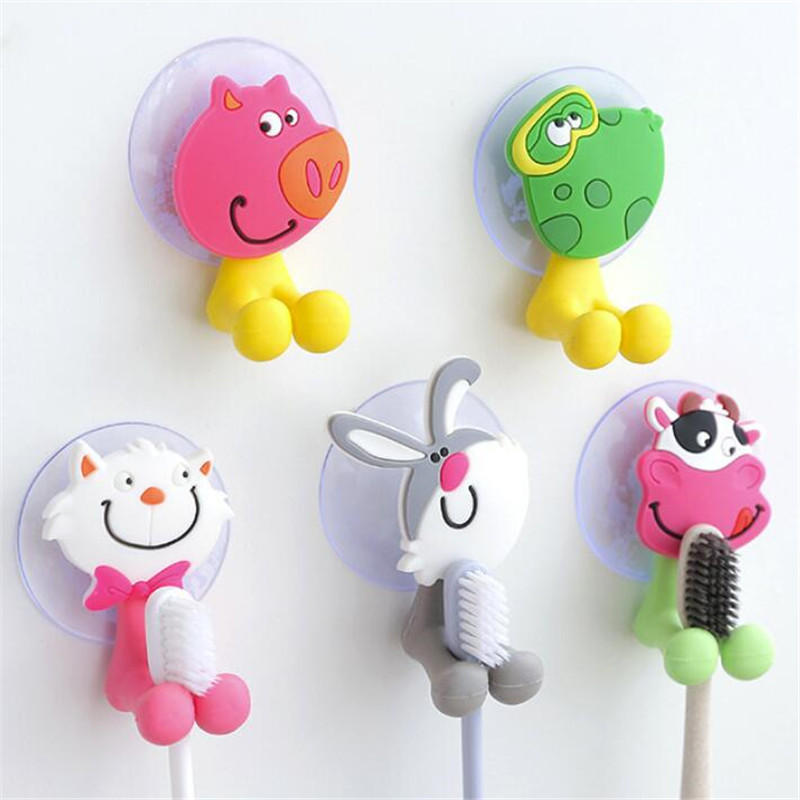 Baby Care Toothbrush Healthcare Kits Cute Cartoon Sucker Suction Hooks Set Hanging Baby Toothbrush Holder