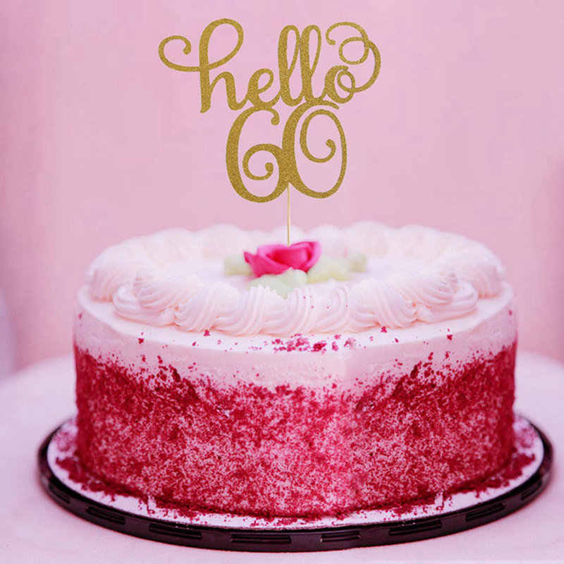 Happy 21 30 40 50 60th Anniversary Cake Topper Glitter Silhouette