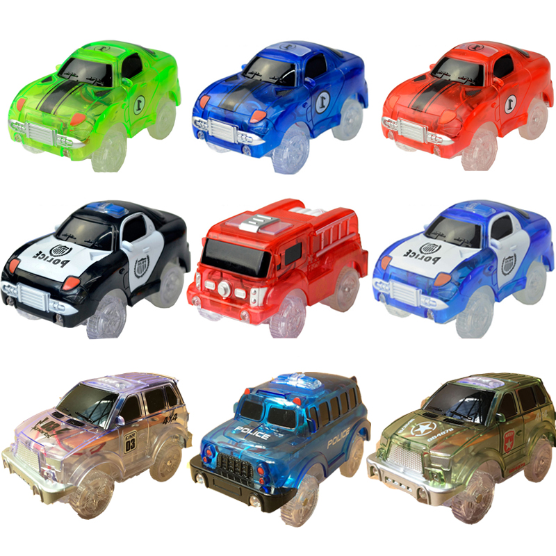 5.2cm Magic Diecasts Electronics LED Car Toys Flashing Lights Kids Birthday Gift Tracks Boys&Girls Educational Toys Rail Car
